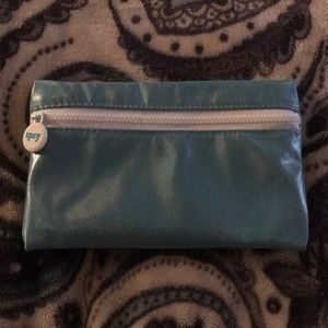 Ipsy blue metallic makeup bag